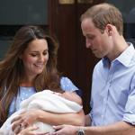 The Duchess of Cambridge and Prince William show off their son outside St. Mary's Hospital in London Tuesday.