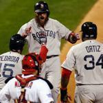 Inserted in the lineup 90 minutes before Game 4, Jonny Gomes belted a three-run homer in the sixth and was greeted by Dustin Pedroia and David Ortiz.