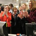 Senator Elizabeth Warren (left) joined joyous researchers celebrating the restart of a nuclear fusion project at MIT.