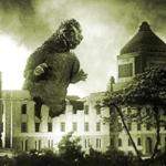 Godzilla stomps through the Japanese Parliament building in Tokyo in the 1954 debut film.