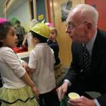 Interim Superintendent John McDonough greeted Shallily Baez on a tour of the Haynes Early Education Center in Dorchester earlier this month.