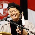 Led Zeppelin guitarist Jimmy Page, center, received an honorary degree of Doctor of Music from Berklee College of Music.
