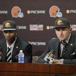 Justin Gilbert, left, and Johnny Manziel were drafted by the Cleveland Browns on Thursday.