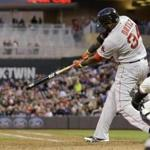 David Ortiz hits his second home run of the game, this one off reliever Caleb Thielbar in the fifth inning. (Ann Heisenfelt/Associated Press)
