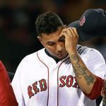 Catcher David Ross and Felix Doubront couldn't get their heads together during Juan Nieves's fifth-inning mound visit.