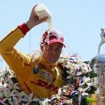 Ryan Hunter-Reay, driver of the #28 DHL Andretti Autosport Honda Dallara, celebrated after winning the 98th running of the Indianapolis 500.