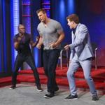 """Rob Gronkowski, center, dances with Wayne Brady, left, and Jonathan Mangum on """"Whose Line Is It Anyway?"""""""