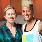 Joanna Lohman (left) and Lianne Sanderson of the Breakers are an engaged couple, but their soccer careers remain their top priority.