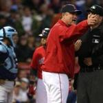 John Farrell was ejected in the first inning for arguing with plate umpire Dan Bellino after David Oretiz was hit with a pitch..