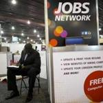 A job-seeker completed an application at a career fair in Philadelphia.