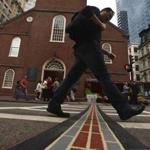 Tourists should find it easier to follow the historic Freedom Trail with the new thermoplastic strips.