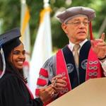 Anika Gupta (left) stood with MIT President L. Rafael Reif during Friday's commencement.