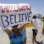 Activists and beachgoers in Miami Beach last month protested statements made by Senator Marco Rubio of Florida, who has criticized predictions about global warming.