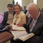 Jason Carter, Georgia gubernatorial candidate, attended church with grandparents Rosalynn and Jimmy Carter.
