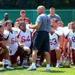Coach Steve Addazio spoke to the players at the end of practice earlier this month.