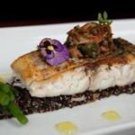 Boston, MA - 08/15/14: Local Striped Bass is served at Parla restaurant in Boston, Massachusetts. The dish consists of local striped bass on a bed of black quinoa salad, artichoke heart relish, citrus