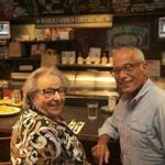 "Robert Shuman with his mother, Rubylee, at Zaftigs Delicatessen in Brookline. Above: The deli's kasha varnishkes. ""We call it bows and groats,"" says Rubylee."
