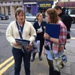 Lauren Leeman, at left, sought out undecided voters in Scotland.