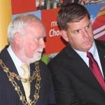 Boston Mayor Martin J. Walsh (third from left) spoke with Galway Mayor Donal Lyons, as Tipperary Mayor Michael Fitzgerald looked on.