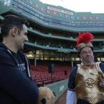 Actors Paul Melendy, left, were at a rehearshal at Fenway before Friday's show.