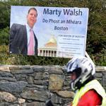 Mayor Martin J. Walsh's visit to Ireland was heralded with signs such as this one displayed in the village of Rosmuc in County Galway in Ireland. Walsh's father was born here.
