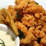 Fried clam strips with coriander-spiked aioli.