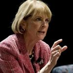 Martha Coakley, making a point during the El Mundo's Conversation with Our Next Governor in Blackman Auditorium at Northeastern University.