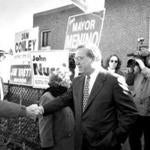 Thomas Menino after voting in Hyde Park in November 1993.