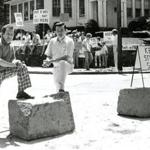 In June 1978, Paul Ryan and Justin Sullivan participated in a demonstration to keep roadblocks from being removed on Governors Road in Milton.