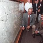 Boston Mayor Thomas Menino (left) and Massachusetts Governor Paul Cellucci (right) at the sculpture's 1997 unveiling.