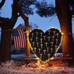 A makeshift memorial for victims of the Newtown shooting was seen in 2013.