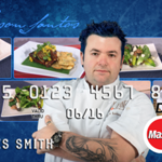 "Jay Santos is the first celebrity chef to be featured by the California-based mobile banking startup, which hawks customized cards for brands from Care Bears to ""Star Trek"" characters."
