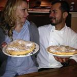 "Jennifer and Alex Lima of Novatos in Norfolk show off their fund-raising ""Doughboys."""