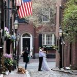 A couple took photos on Acorn Street in Beacon Hill before their wedding last year.