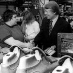 Jimmy Carter met workers at the J.F. McElwain Shoe Co, in Manchester, N.H. in 1976,