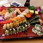 A bounteous sushi platter appetizer is available at the Medford restaurant.