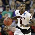 Celtics rookie Terry Rozier, pictured while playing for the University of Louisville, is keeping an eye on the NCAA's investigation into the school.