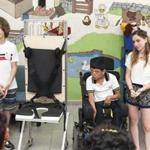 Stefano Pagani (left) of Lexington and Amit Nir of Needham showcased their wheelchair-like mobility device for children in Monterrey, Mexico.