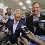 FILE - In this May 29, 2014, file photo, NFL Commissioner Roger Goodell, right, and New England Patriots owner Robert Kraft address members of the media during a football safety clinic for mothers at the team's facilities in Foxborough, Mass. Kraft and Goodell have worked closely in bringing about the league's impressive growth. That alliance was strained with the league's punishment of Tom Brady and his team in the