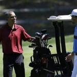President Obama played golf with NBA star Stephen Curry at Farm Neck Golf Club in 2015.