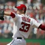 Washington Nationals relief pitcher Doug Fister (33) throws during a baseball game against the Miami Marlins at Nationals Park, Sunday, Aug. 30, 2015, in Washington. (AP Photo/Alex Brandon)