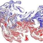 Two odor plumes (blue and red) are released at separate locations upstream of the image area.