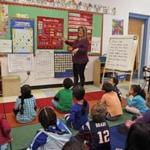 Marisol Sinclair's kindergarten class at Manthala George Jr. School in Brockton is taught in Spanish. Subsequent classes for the children will be conducted in English.