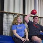 Lizzie Siegle and Brian Conneely play dodgeball through Social Boston Sports.