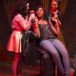 "From left: Carolina Sanchez, Jasmine Carmichael, and Shazi Raja in Huntington Theatre Company's ""Milk Like Sugar."""