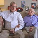 Jack Evans and George Harris of Dallas, Texas, together for 55 years, are celebrating their first Valentine's Day as a married couple. They are featuring in a new online Necco ad campaign for Sweethearts candies.
