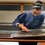 Molly Wallner, assistant chocolate maker, sorts though beans at Somerville Chocolate.