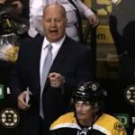 Boston Bruins head coach Claude Julien during the overtime of an NHL hockey game in Boston, Tuesday, Feb. 2, 2016. (AP Photo/Charles Krupa)