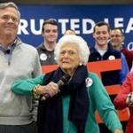 Jeb Bush appealed to New Hampshire voters in Derry on Thursday at a Town Hall and brought along his mother, and former first lady, Barbara Bush.