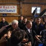 Ohio Governor and Republican presidential candidate John Kasich spoke to the press following a town-hall-style meeting Friday in Hollis, N.H.